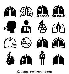 ikonen, lungan, sjukdom, sätta, lunga