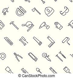 ikonen, mönster, seamless, konstruktion, bakgrund, vit, redskapen