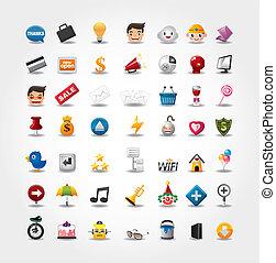 ikonen, nät internet, sätta, websajt, &, ikonen