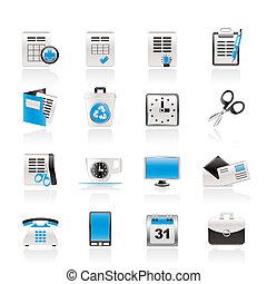 ikonen, redskapen, kontor, affär