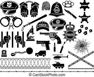 ikonen, sätta, polis
