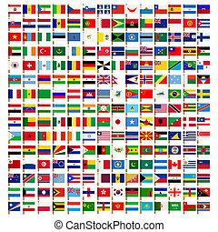 ikonen, sätta, värld, flagga