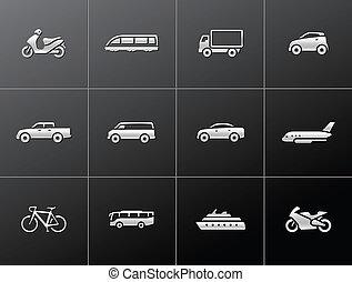ikonen, transport, metallisk, -