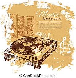 illustration., årgång, hand, bakgrund., skivtallrik, plaska, design, klick, oavgjord, musik, retro