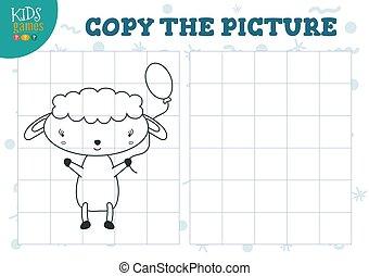 illustration., förskola, vektor, galler, bilda, avskrift, problem, mini, lek, bild, lurar