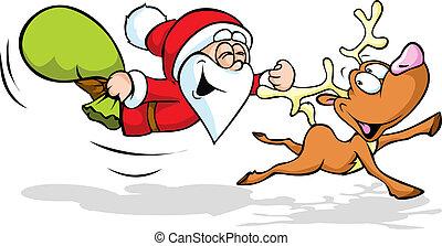 illustration, jultomten, ren, flygning, rolig