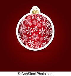 illustration., märke, bakgrund., vektor, jul, ball.