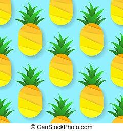 illustration., mönster, seamless, tropisk, vektor, pineapples.