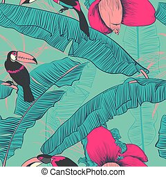 illustration., mönster, vektor, palms., seamless, tropisk, banan