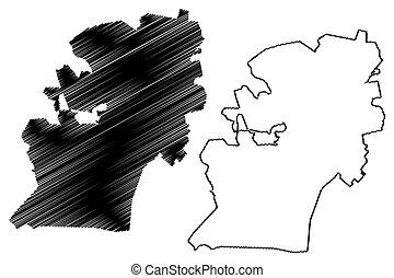 illustration, skiss, umgungundlovu, pietermaritzburg, stad, afrika, maritzburg, karta, vektor, province), syd, (republic, rsa, eller, klottra, kwazulu-natal