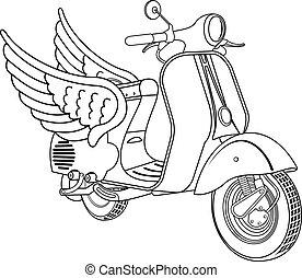 illustration, sparkcykel, vektor, årgång
