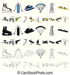 illustration., symbol, ytterlighet, kollektion, sports, vektor, sport, design., tecknad film, ikonen, sätta, olik, slagen, nät, block