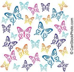 illustration, vektor, butterflys.