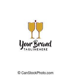 illustration, vektor, design, logo, vin, template., ikon