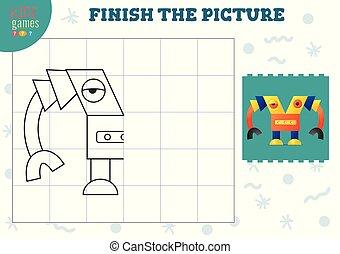 illustration., vektor, fullständig, avskrift, tom, lek, bild