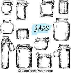 illustrationer, jars., sätta