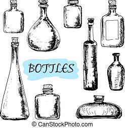 illustrationer, sätta, bottles.