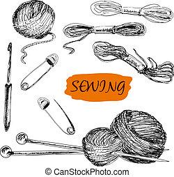 illustrationer, sätta, sewing.