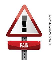 illustrationer, smärta, vägmärke