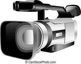 illustrerat, kamera, video