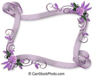 inbjudan, bröllop, gräns, lavendel, ro