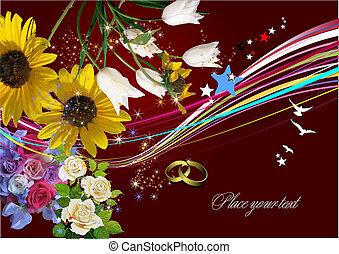 inbjudan, vektor, bröllop, kort, hälsning, card., illustration.