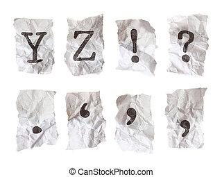 individually, skrynkligt, 21, resolution., alfabet, paper., maximum, megapixel, kamera, maskinskriven, varje, tagen, alfabet