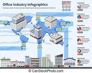 industri, kontor, infographics