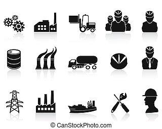 industri, sätta, svart, ikonen