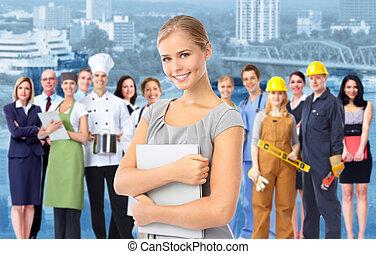 industriell, workers., kvinna, grupp, affär