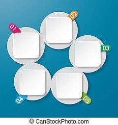 info, etiketter, fem, numrerar, circl