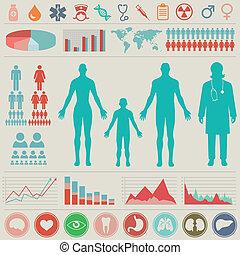 infographic, medicinsk, vektor, set., illustration.