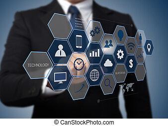 information, arbete, affär, nymodig, gräns flat, bemanna dator, teknologi, begrepp
