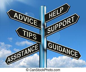 information, hjälp, vägvisare, råd, stöd, tippar, vägledning, visar