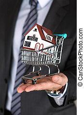 inköp, affär, synhåll, holdingen, litet hus, närbild, hand kärra, modell, man's