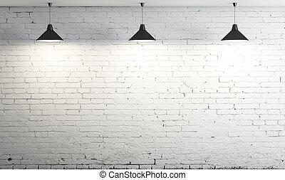 innertak, tre, lampa