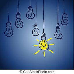 innovativ, lamp., begrepp, idé