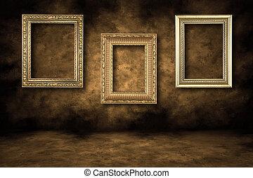 inramar, guilded, bild, tom, hängande
