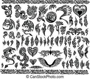inramar, tatuera, sätta, gräns, drakar