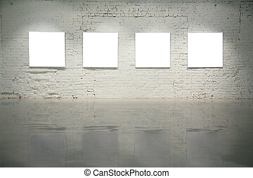 inramar, vägg, vita tegelsten