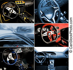inre, bil, collage, sport