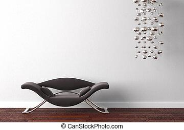inre, fåtölj, lampa, design, vit