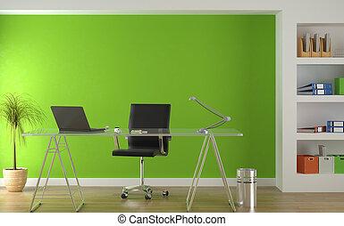 inre, grön, nymodig, design, kontor