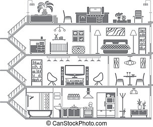 inre, hus, vektor, illustration, silhouette.