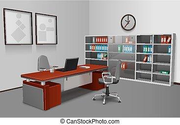 inre, realistisk, kontor