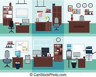 inre, sätta, kontor, ikon