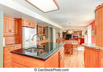inre, ved, ek, cabinetry, lysande, kök
