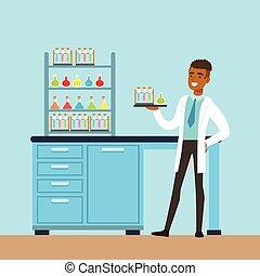 inre, vektor, labb, laboratorium, man, forska, forskare, vetenskap, illustration, föra