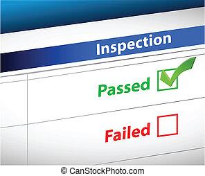 inspektion, skrivbordsarbete, resultat, affär