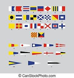 internationell, morse, alfabet, signal, grå, flaggan, nautisk, bakgrund, kust, isolerat